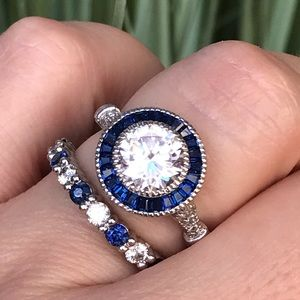 14k white gold sapphire diamond engagement ring 7